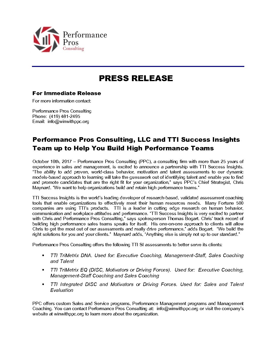 PPC_TTI Success Insights press release